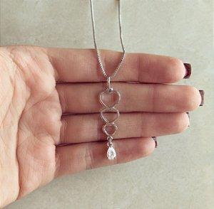 Corrente Corações Vazado com Gota de Zircônia Diamond Ródio Branco