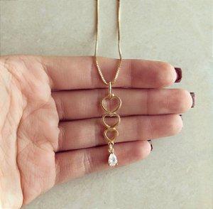 Corrente Corações Vazado com Gota de Zircônia Diamond Dourado