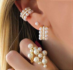 Piercing de Pressão Charmosa com Pérolas e Cristais Diamond Dourado