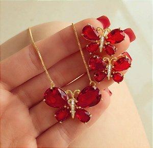 Conjunto Luxuoso Borboleta Cristal Rubi e Zircônias Diamond Dourado