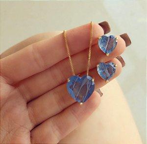 Conjunto Coração Pedra Rajada Azul Jeans Dourado