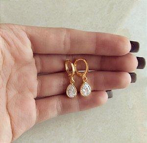 Argolinha Maxi Gota de Zircônia Diamond Dourado