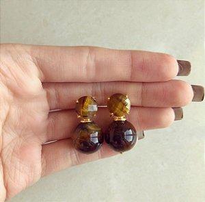 Brinco Redondo Pedra Natural Olho de Tigre 10MM e 14MM Dourado