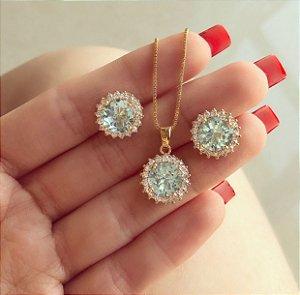 Conjunto Redondo com Zircônias Azul Claro e Diamond Dourado