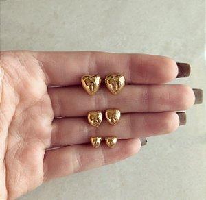 Kit Trio de Corações Liso Dourado