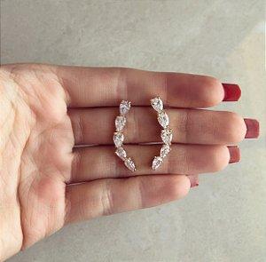 Brinco Ear Cuff Gotas de Zircônia Diamond Dourado