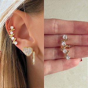 Maxi Piercing de Pressão Quadradinhos de Zircônia Diamond Dourado
