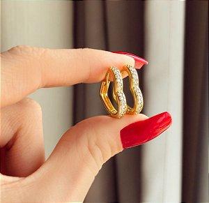 Argolinha de Coração com Zircônias Diamond Dourado