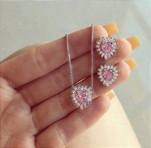 Conjunto Coração Zircônia Safira Rosa e Navetes de Zircônias Diamond Ródio Branco