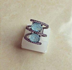 Anel Luxuoso Pedra Fusion Azul Turquesa e Cravação de Zircônia Diamond Ródio Negro