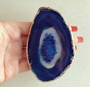 Pocket Socket Chapa de Pedra Natural Agata Azul Dourado