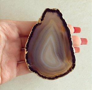 Pocket Socket Chapa de Pedra Natural Agata Marrom Dourado