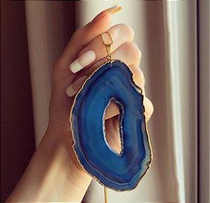 Colar Longo Chapa de Pedra Natural Agata Azul III Dourado