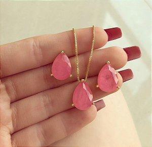 Conjunto Gota Pedra Fusion Rosa Chiclete Dourado