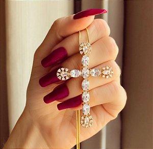 Corrente Maxi Cruz Com Mil Maxi Zircônias Diamond Dourado