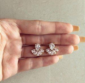 Brinco Lisboa Gotas de Zircônias Diamond Dourado