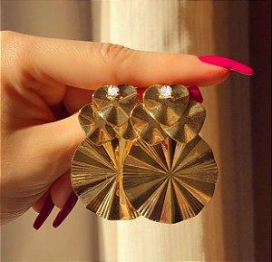 Maxi Brinco Hawai Com Zircônia Diamond Dourado