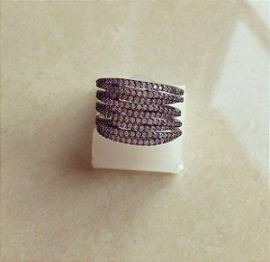 Anel Luxuoso Grosso com Cravação de Mil Zircônias Diamond Ródio Negro