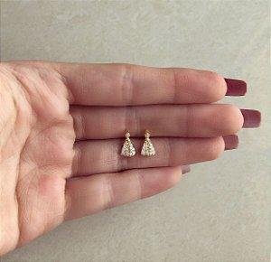 Brinco Nossa Senhora Delicada com Zircônias Diamond Dourado