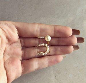 Maxi Piercing de Pressão Pérolinhas e Zircônias Diamond Dourado