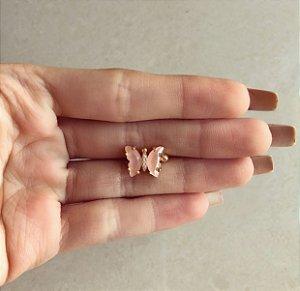 Piercing de Pressão de Borboleta com Zircônia Leitosa Safira Rosa Dourado