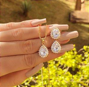 Conjunto Gota com Zircônias Diamond Dourado