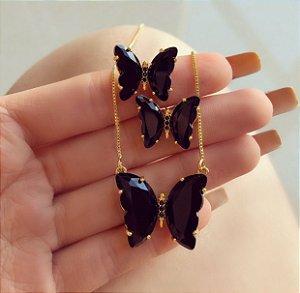Conjunto Luxuoso Borboleta Cristal Negro e Zircônias Negra Dourado