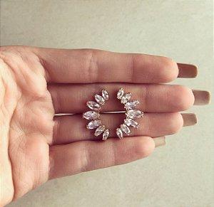 Ear Cuff Navetes de Zircônia Diamond Dourado