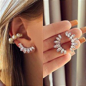 Ear Cuff Navetes de Zircônia Diamond Ródio Branco