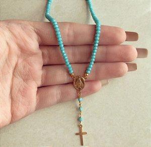 Corrente Cristais Azul Turquesa com Medalha Nossa Senhora das Graças Dourado