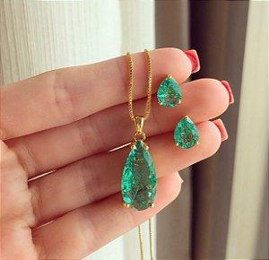 Conjunto Gota Médio Pedra Fusion Verde Turmalina Dourado