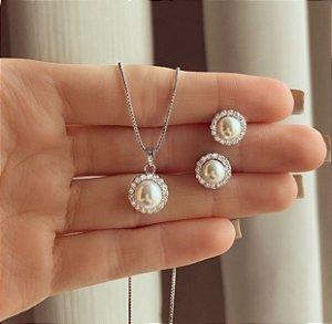 Conjunto Princesa Pérola e Cravação de Zircônias Diamond Ródio Branco