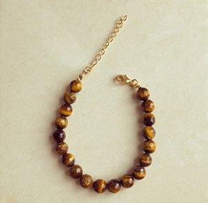 Pulseira Pedras Naturais de Olho de Tigre 8MM Dourado