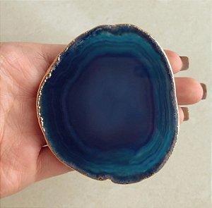 Pocket Socket Chapa de Pedra Natural Agata Azul com Detalhes em Volta Dourado