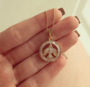 Corrente Mandala Espírito Santo com Mil Zircônias Diamond Dourado
