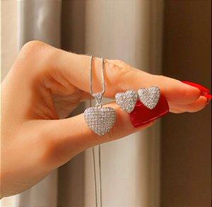 Conjunto Coração com Mil Micro Zircônias Diamond Ródio Branco