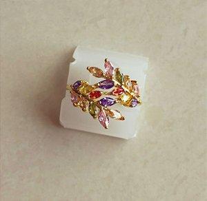 Anel Folhas de Zircônias Colorida Suaves Dourado