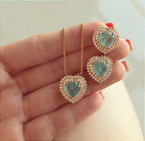 Conjunto Luxuoso Coração Pedra Fusion Verde Água e Mil Zircônias Diamond Dourado