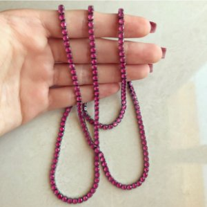 Colar Longo Riviera Zircônias Rubi Rosada Ródio Negro