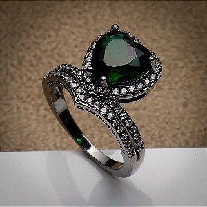 Anel Coração Luxo Zircônias Esmeralda/Diamond Ródio Negro