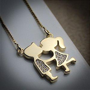 Corrente Love Casal (Menino e Menina) Zircônias Diamond