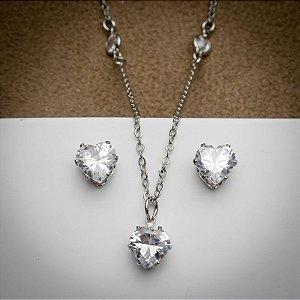 Conjunto Coração Maxi Zircônia Diamond Ródio Branco