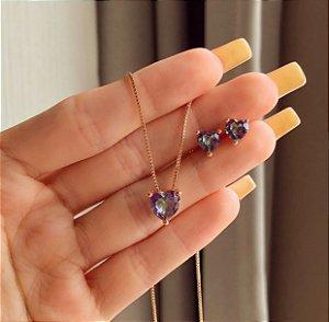 Conjunto Cute Coração Pedra Rainbow Ouro Rosé