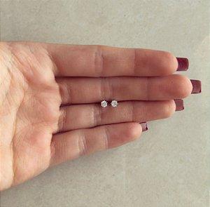 Brinco Pingo de Zircônia Pequeno Ródio Branco