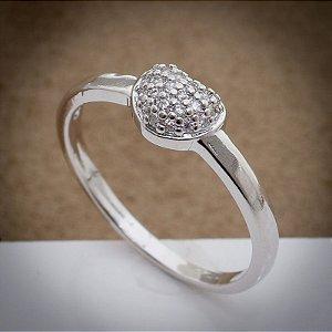 Anel Mini Coração Zircônias Diamond Ródio Branco