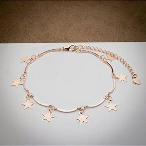 Pulseira Aro com Pingente de Estrelas Ouro Rosé