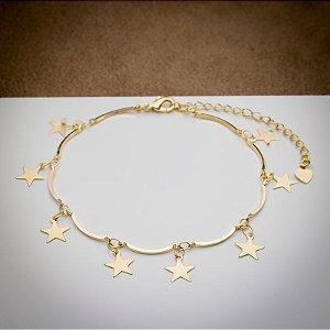 Pulseira Aro com Pingente de Estrelas Dourada