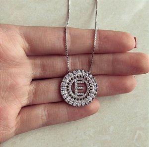 "Corrente Letra ""E"" Mandala Zircônias Diamond Ródio Branco"