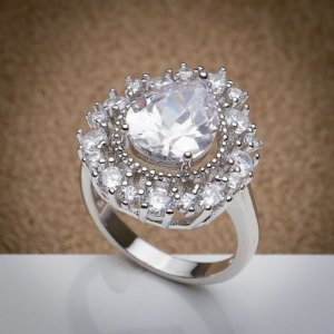 Anel Duquesa Maxi Zircônias Diamond Ródio Branco