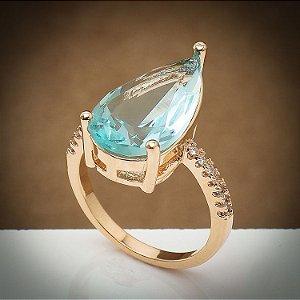 Anel Kate Cristal Azul Turquesa/Zircônias Diamond Ouro Rosé